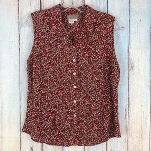 Vintage The Territory Ahead Red Silk Floral Blouse